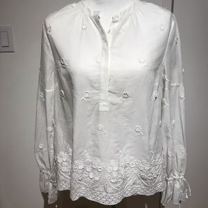 J.Crew beautiful cotton embroidered blouse